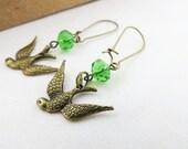 Sparrow Earrings - Green, Antiqued brass