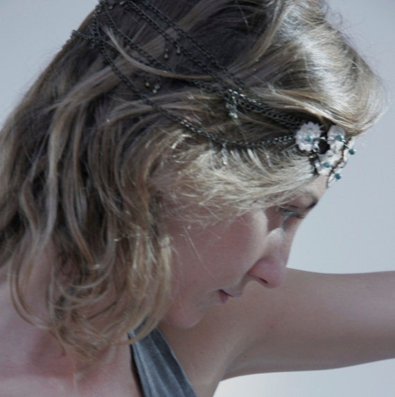 Lace Head band or necklace. Vintage  flowers lace and green natural stones.  it is inspirated in the Ibiza style