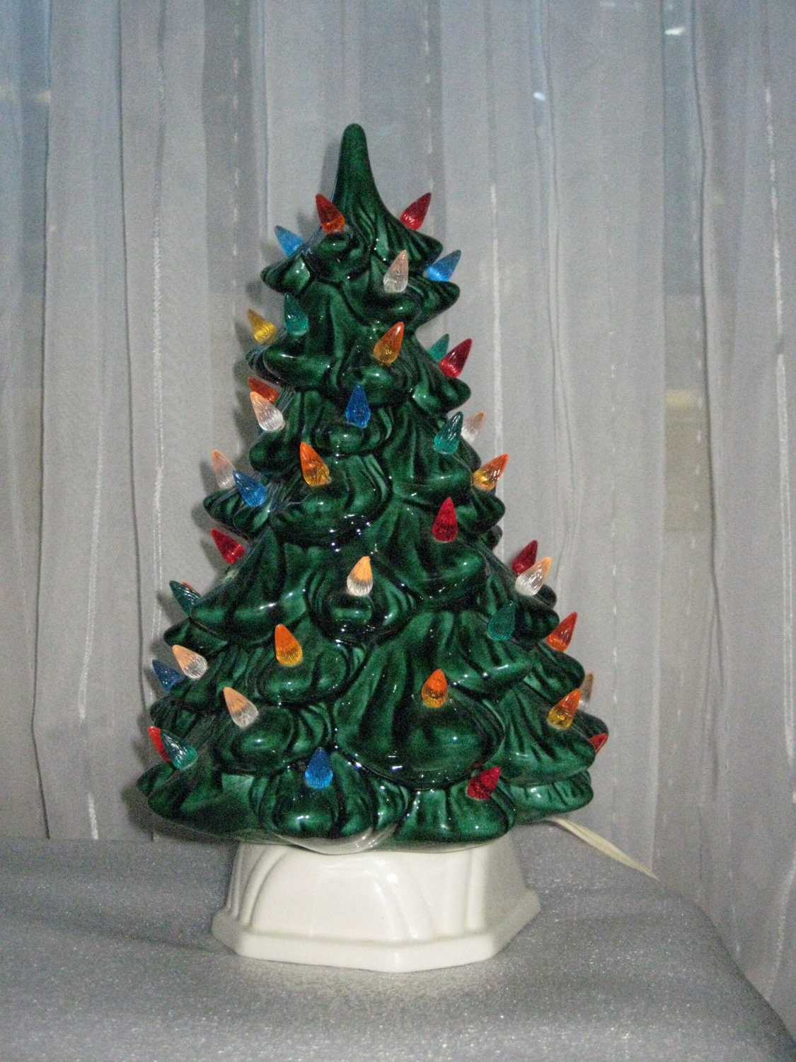 Vintage Ceramic Christmas Tree With Light Up Candle Base Small
