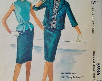 60s Slim Skirt, Box Jacket & Sleeveless Overblouse, Vintage McCalls 5936 Sewing Pattern, Size 11, Bust 31.5