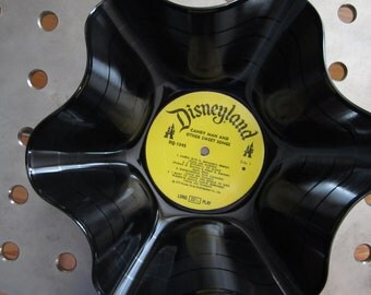 Genuine Vintage 33rpm Upcycled LP Record Bowl featuring Disney Children's Favorites .....Beautiful Disneyland Label