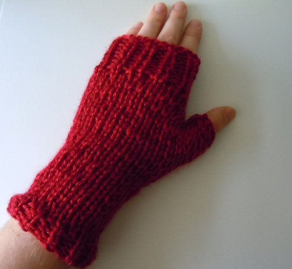 40% Off - Hand Knit Fingerless Gloves - with or without White Pom Pom