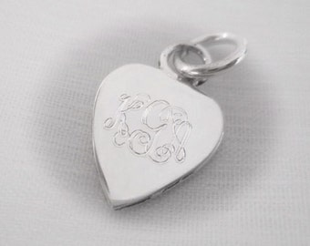 Engravable Sterling Silver Heart Charm or Pendant