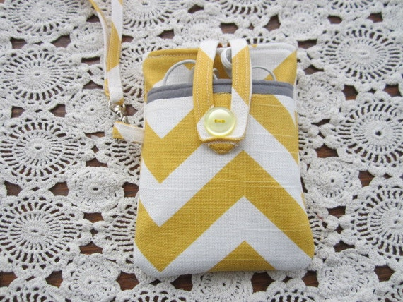 iPhone iPod Chevron Yellow White Small camera Case Sleeve Cover