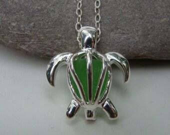 Sea Turtle Necklace Pendant - Emerald Green Sea Glass - Turtle Jewelry - Sterling Silver Chain