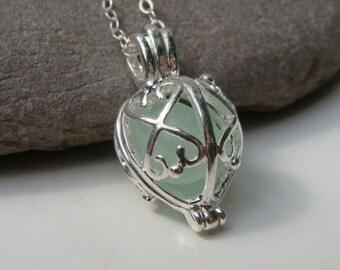 Sea Glass Necklace - Filigree Locket Pendant - Seafoam Sea Glass