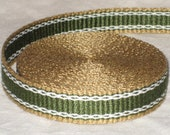 Gold, olive green, and white inkle woven trim (over 14 feet)