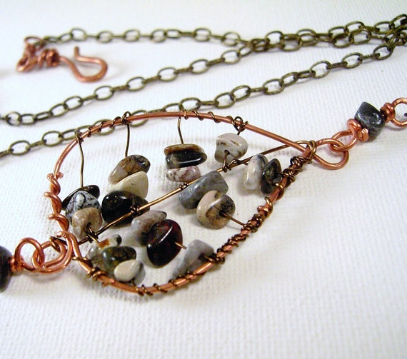 Wire Wrapped Leaf Pendant Stone Necklace Earthtones Adjustable Chain