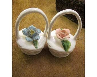 Miniature Vintage Porcelain Handled Flower Baskets with Pink Rose and Blue Flower - Set of 2