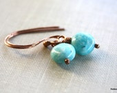 Amazonite Gemstone Solid Copper Earrings Simple Dangle Blue Drop Handmade Jewelry