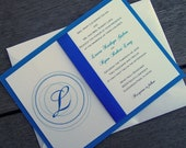 Monogram wedding invitation, Blue wedding invitation, Royal blue wedding invitation