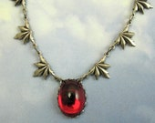 Red Gothic Vampire Necklace Blood Red Antique Silver Art Deco Jewelry Romantic Gothic
