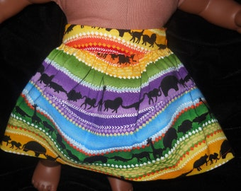 African Animals on Parade Skirt for Bitty Baby or American Girl 18in dolls