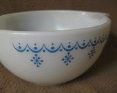 Vintage Pyrex Cinderella Mixing Bowl 441 Snowflake Blue Garland Winter Milk Glass 1 1/2 PT