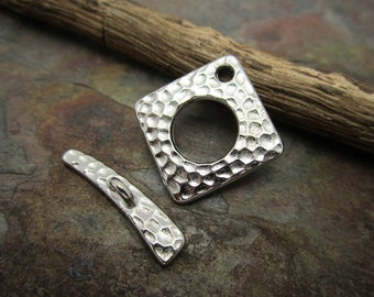2 Silver Hammered Toggle Clasps