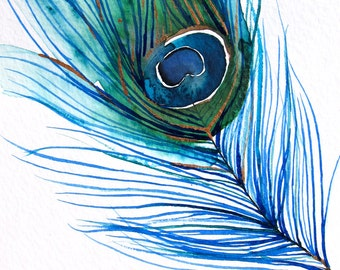 60% Off SALE - Peacock Feather Art - Large Wall Art - Wall Decor - Watercolor - Peacock Feather I - Large 16x20 Print - Poster - Modern Cont