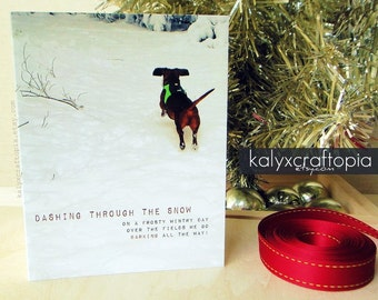 Card SINGLE Dachshund Christmas Card Dashing Through the Snow