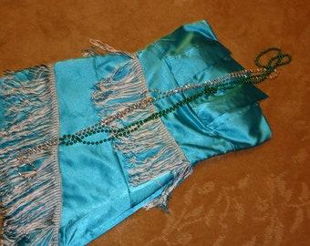 20s FLAPPER dress turquoise teal fringe Halloween COSTUME womens sz 5/6