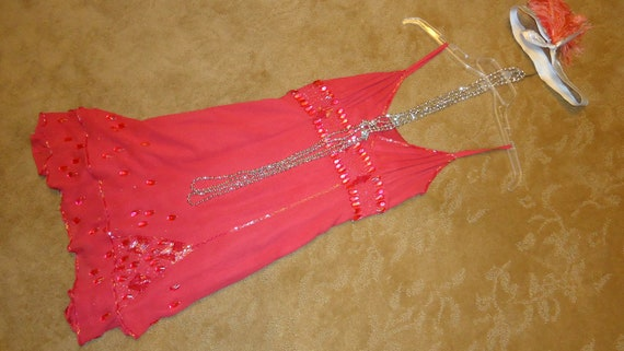 1920s Costume Flapper Roaring Twenties Chicago coral silk beaded dress headband beads  womenz sz S 5/6