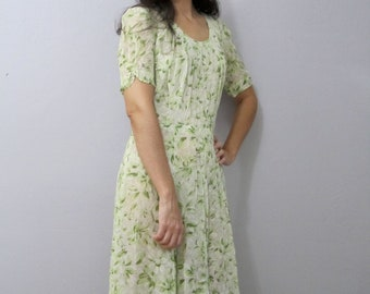 SALE Vintage 40's Semi Sheer Pleated Leafy Floral Swing Dress S