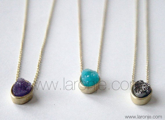 Small Druzy Gold Necklace in Turquoise Amethyst Hematite