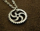 Sterling Silver Sprocket Pendant Necklace Gear Cog