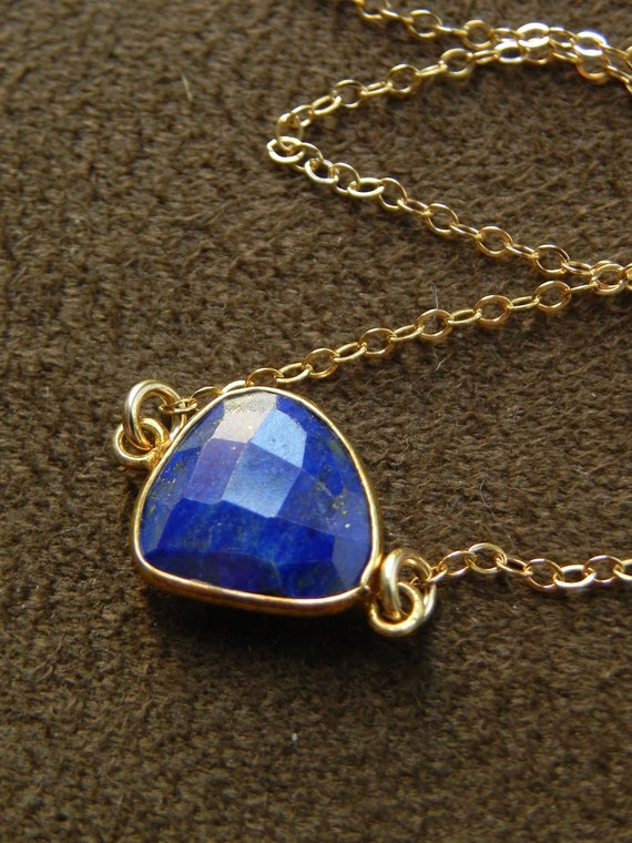 Lapis Vermeil Nugget and Gold Filled Suspension Necklace