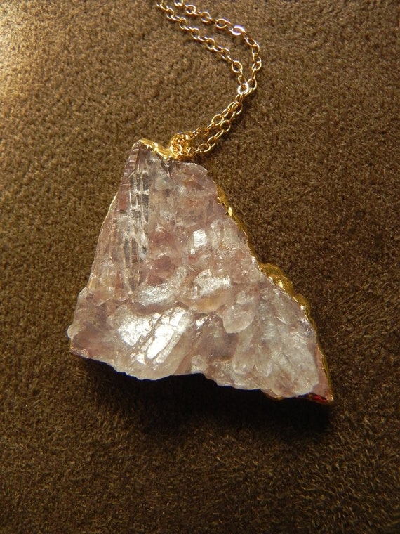 Drusy Pink Amethyst Geode Cluster and 14kt Gold Filled Necklace Druzy