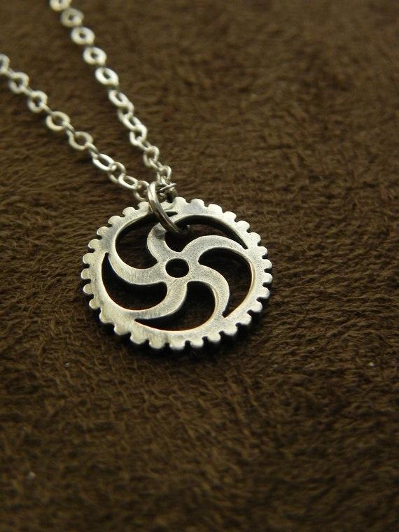 sterling silver sprocket pendant necklace gear cog