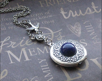 Silver Locket Necklace - Enchanted Lapis Lazuli Wreath - Jewelry By TheEnchantedLocket - STUNNING Wife Bride Anniversary Gift