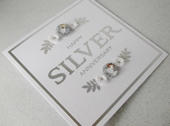 items similar to silver anniversary card 25th paper