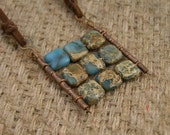 Nine squares boho pendant tile natural blue green mint turquoise gemstone on suede casual necklace Israel art made in Israel