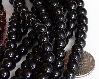 6mm Round Black Czech Glass Beads 25