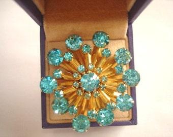 Turquoise Rhinestone Flower Brooch