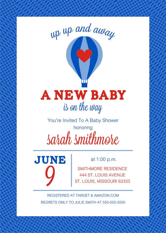 Hot Air Balloon Baby Shower Invite - UP UP and AWAY