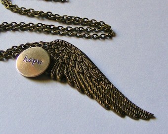 Hope Necklace. Breast Cancer Awareness Necklace. Angel Wing Necklace. Inspirational Jewelry. Vintage Inspired