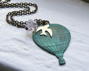 Hot Air Balloon Necklace. Verdigris Necklace. Sparrow Necklace. Flower. Turquoise Jewelry. Vintage Inspired