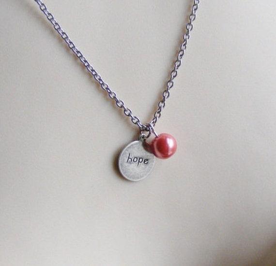 Breast Cancer Necklace. Hope Necklace. Silver Necklace. Survivor. Inspirational Necklace. Pink