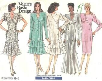 Vogue Dress Pattern 1940 sz 14 16 18 1987 FF