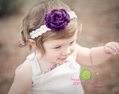 Rose Flower Headband - White and Purple - Preemie, Baby or Toddler Sizes
