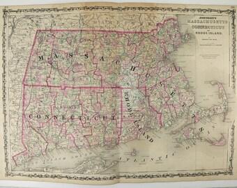 Original Antique Map Massachusetts Connecticut Map Rhode Island 1863 Johnson Map, History Buff Gift for Him, Art Gift for Her, MA Map CT RI
