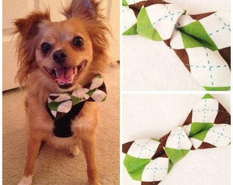 Argyle Puppy Dog Bow-Tie