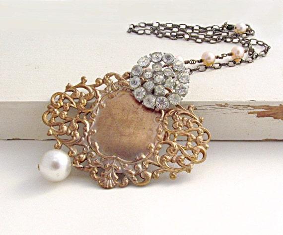 Statement Necklace Art Nouveau Necklace Rhinestone Necklace Peach Pearl Necklace Bridal Necklace French Necklace - Emmaline