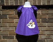 LSU purple and white polka dot appliqued peasant dress