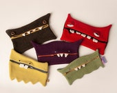 Monster pencil case zip wallet makeup case zipper pouch upcycled stuffed monster