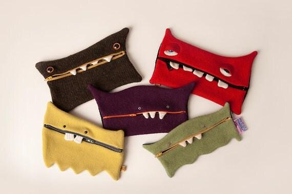 Monster pencil case zip wallet makeup case zipper pouch upcycled stuffed monster