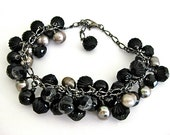 Black Onyx Czech Glass Fresh Water Pearl Bracelet Taupe Dangle - PluffMudDesigns