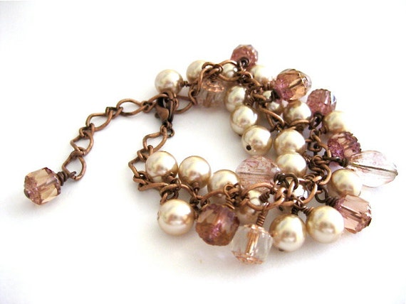 Pearl Czech Cathedral Glass Copper Bracelet Pink Ivory