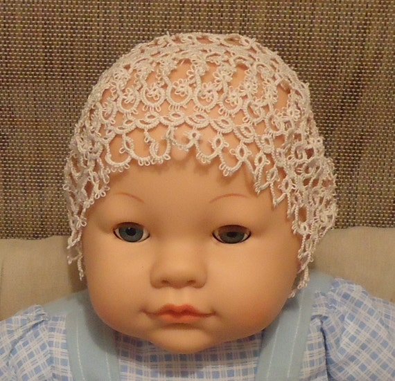 Handmade needle tatted christening bonnet and booties set.
