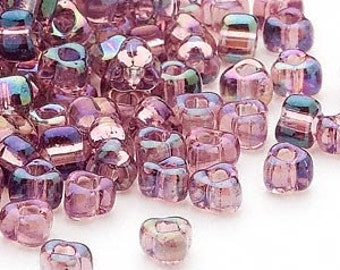 4mm iris lilac Miyuki triangle glass beads, 20 grams, approx. 250 beads. Easter, purple, rainbow, Spring, prom, Mother's Day, triangular
